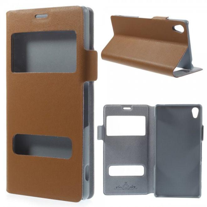 Sony Xperia Z3 Echtleder Case mit zwei kleinen Öffnungen und Standfunktion - braun