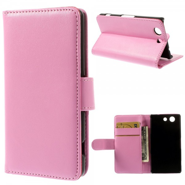 Sony Xperia Z3 Compact Elegantes Leder Case mit Standfunktion - pink