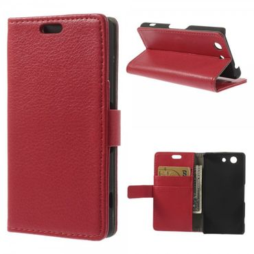 Sony Xperia Z3 Compact Leder Case mit Litchimuster - rot