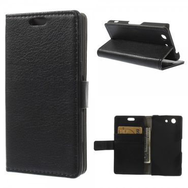 Sony Xperia Z3 Compact Leder Case mit Litchimuster - schwarz