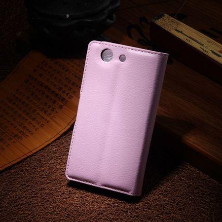 Sony Xperia Z3 Compact Leder Case mit Litchimuster und Kreditkartenschlitz - pink