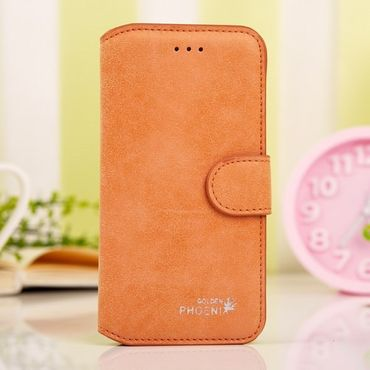iPhone 6 Plus/6S Plus Trendiges Golden Phoenix Echtleder Case - orange