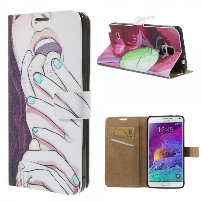 Samsung Galaxy Note 4 Leder Case mit süssem Girl mit offenem Mund