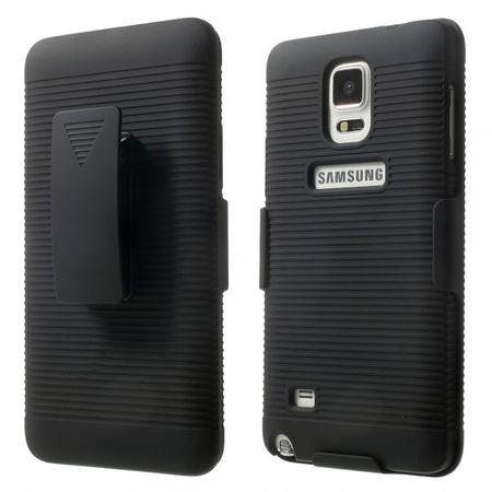 Samsung Galaxy Note 4 Robustes Hart Plastik Case mit Streifen und Gurthalterung - schwarz