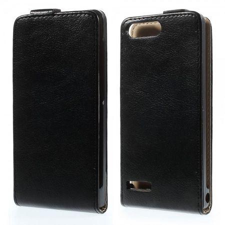 Huawei Ascend G6 Magnetisches Crazy Horse Leder Case vertikal - schwarz