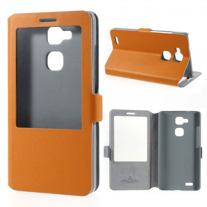 MU Classic Huawei Ascend Mate7 Echtleder Case mit grosser Öffnung - orange