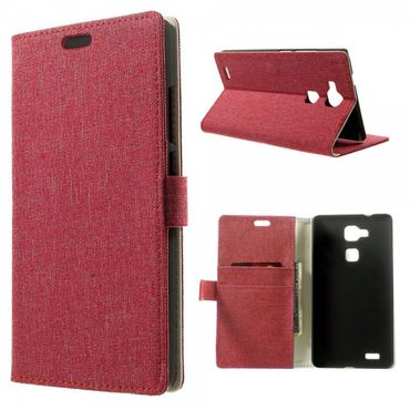 Huawei Ascend Mate7 Leder Case mit Leinenmuster und Standfunktion - rot