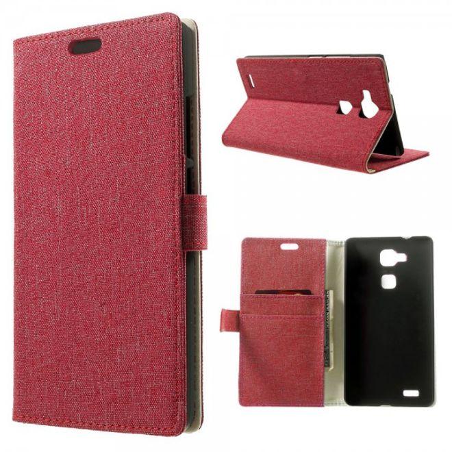 Huawei Ascend Mate7 Leder Case mit Leinenmuster und Standfunktion - rot