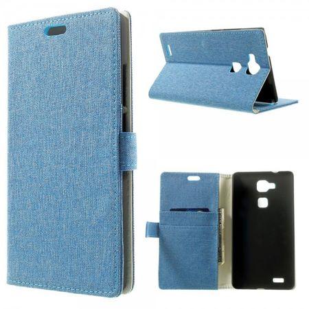 Huawei Ascend Mate7 Leder Case mit Leinenmuster und Standfunktion - hellblau