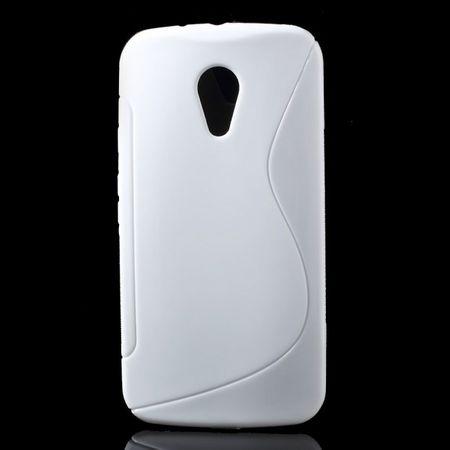 Motorola Moto G (2 Gen) Elastisches Plastik Case S-Shape - weiss