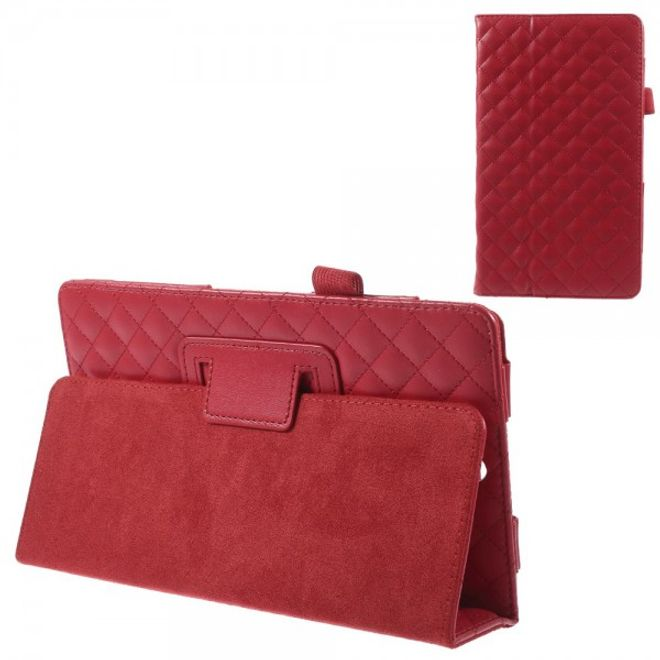 MU Classic Sony Xperia Z3 Tablet Compact Leder Cover mit Standfunktion und Karomuster - rot