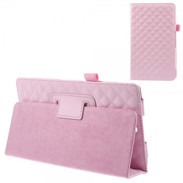 Sony Xperia Z3 Tablet Compact Leder Cover mit Standfunktion und Karomuster - pink