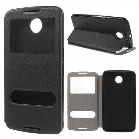 Motorola Nexus 6 Leder Case mit Textur und kleinen Öffnungen - schwarz