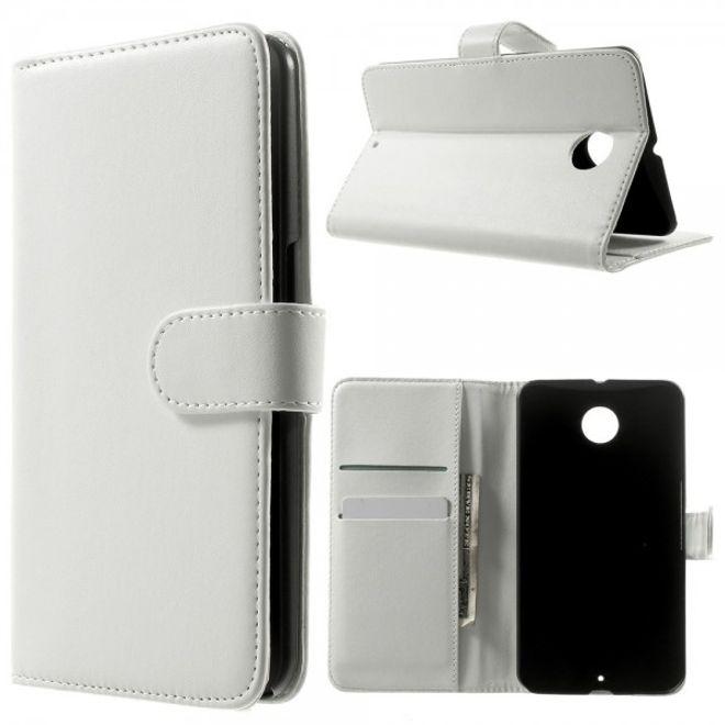 MU Classic Motorola Nexus 6 Elegantes Leder Case mit Standfunktion - weiss