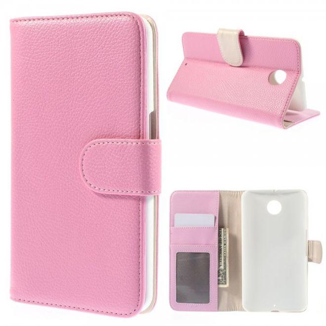 MU Classic Motorola Nexus 6 Leder Case mit Litchimuster - pink