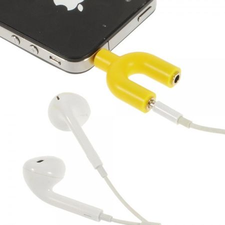 Mini Y-Shape Audio Splitter Adapter - gelb