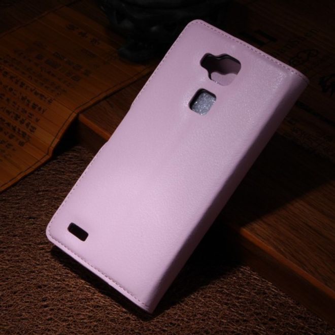 MU Classic Huawei Ascend Mate7 Magnetisches Leder Case mit Litchimuster - pink