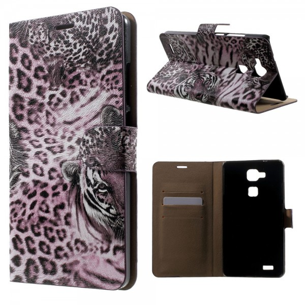 Huawei Ascend Mate7 Leder Case mit Leopardenmuster - purpur