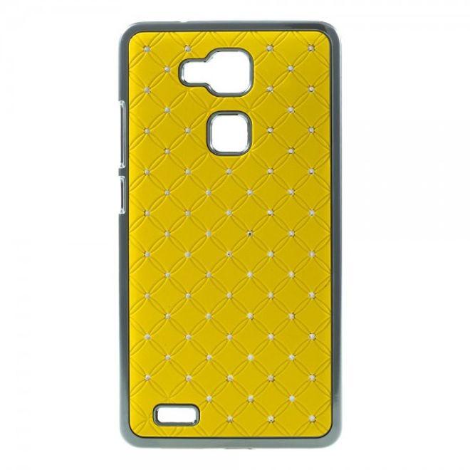 MU Style Huawei Ascend Mate7 Hart Plastik Case mit Glitzersteinen - gelb