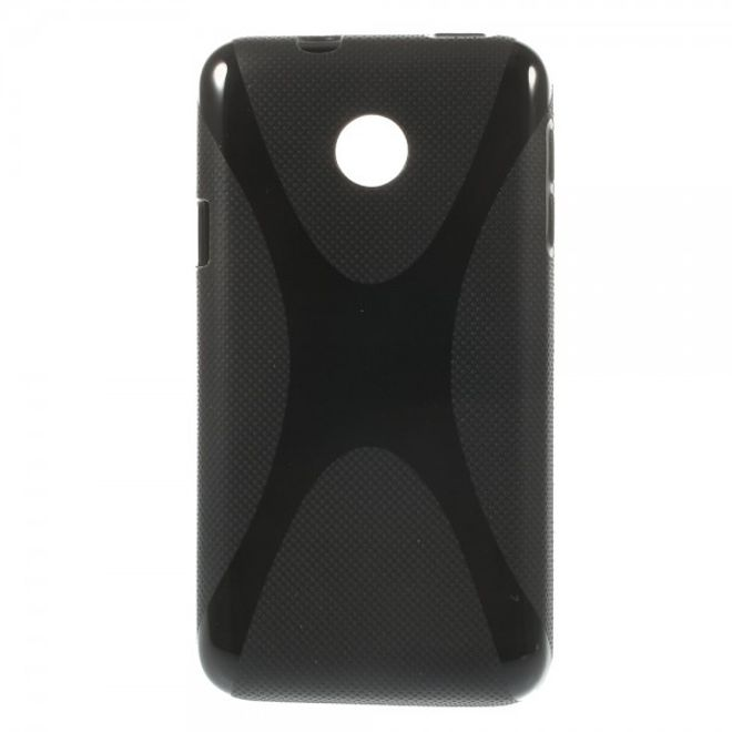 Huawei Ascend Y330 Elastisches Plastik Case X-Shape - schwarz