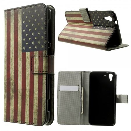 HTC Desire Eye Leder Case mit USA Flagge retro-style