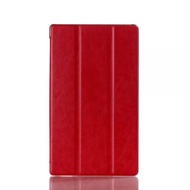 Sony Xperia Z3 Tablet Compact Crazy Horse Leder Flip Case mit Standfunktion - rot