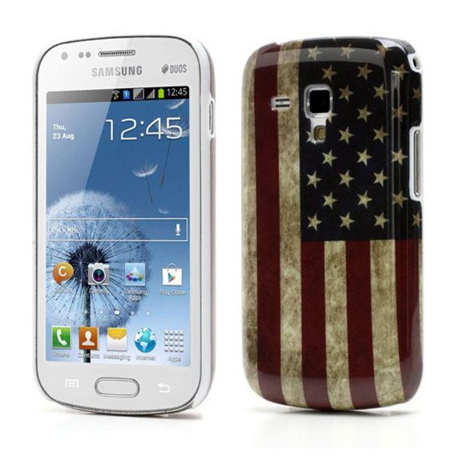 Samsung Galaxy S Duos Hart Plastik Case mit USA Flagge retro-style