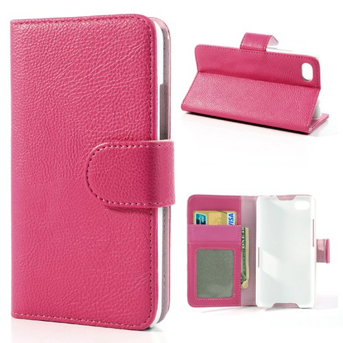 BlackBerry Z30/Aristo Leder Case mit Litchimuster und Standfunktion - rosa
