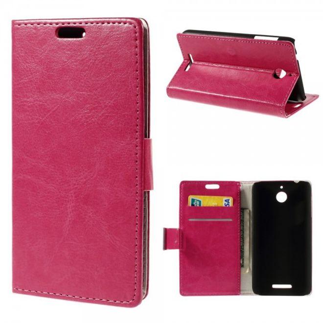HTC Desire 510 Crazy Horse Leder Case mit Standfunktion - rosa