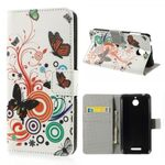 HTC Desire 510 Leder Case mit Schmetterlingen und Kreisen
