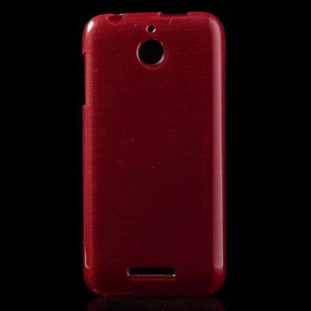 HTC Desire 510 Elastisches Plastik Case mit gebürsteter Oberfläche - rot