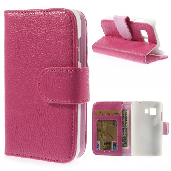 Samsung Galaxy Young 2 Leder Case mit Litchimuster und Standfunktion - rosa