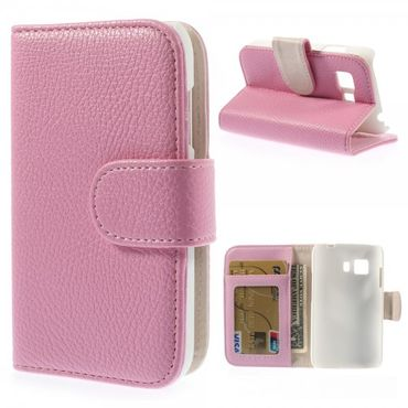 Samsung Galaxy Young 2 Leder Case mit Litchimuster und Standfunktion - pink