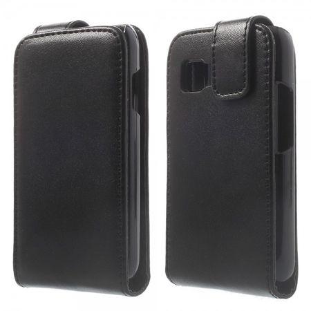 Samsung Galaxy Young 2 Klassisches Leder Flip Case - schwarz