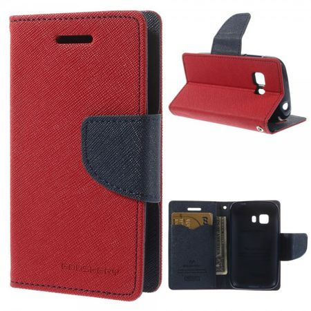 Goospery - Samsung Galaxy Young 2 Hülle - Handy Bookcover - Fancy Diary Series - rot/navy