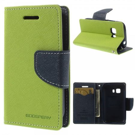 Goospery - Samsung Galaxy Young 2 Hülle - Handy Bookcover - Fancy Diary Series - lime/navy