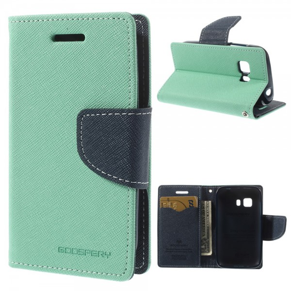 Goospery Samsung Galaxy Young 2 Mercury Leder Case mit Standfunktion - cyan