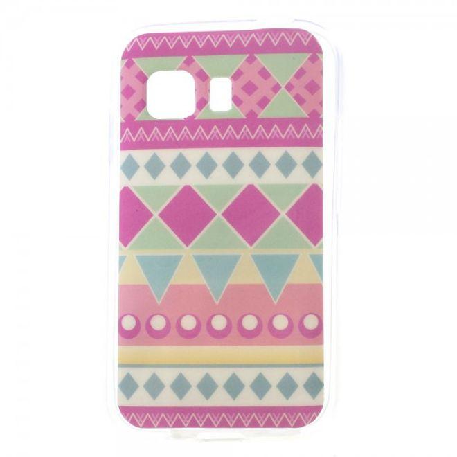 Samsung Galaxy Young 2 Elastisches, glänzendes Plastik Case mit geometrischem Muster