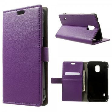 Samsung Galaxy S5 Active Leder Case mit Litchimuster und Standfunktion - purpur