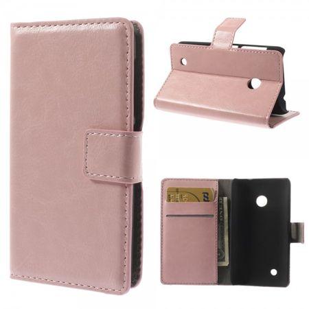 Nokia Lumia 530 Crazy Horse Leder Case mit Standfunktion - pink