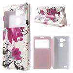 Huawei Ascend Mate7 Leder Case mit Fenster und Lotus Blumen