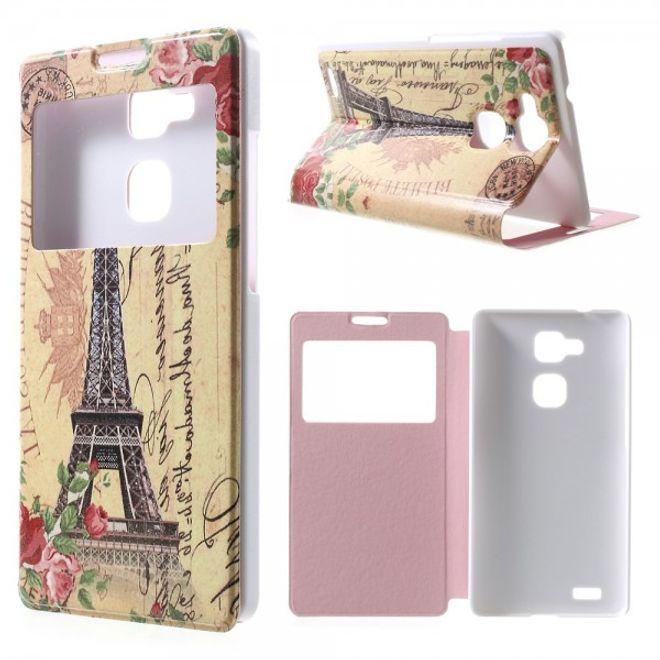 MU Classic Huawei Ascend Mate7 Leder Case mit Fenster und grossem Eiffelturm