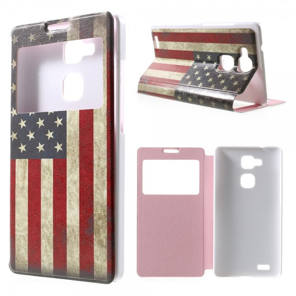 Huawei Ascend Mate7 Leder Case mit Fenster und USA Flagge retro-style