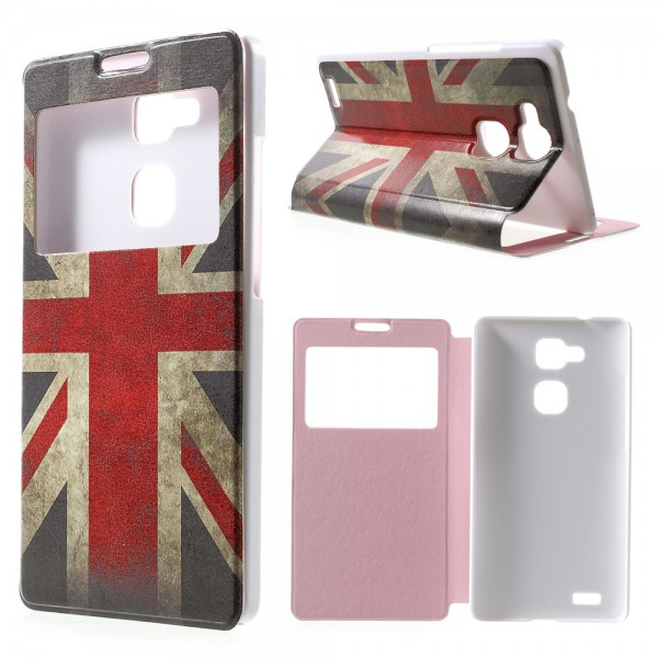 Huawei Ascend Mate7 Leder Case mit Fenster und Union Jack Flagge retro-style