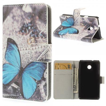 Huawei Ascend Y330 Leder Case mit blauem Schmetterling