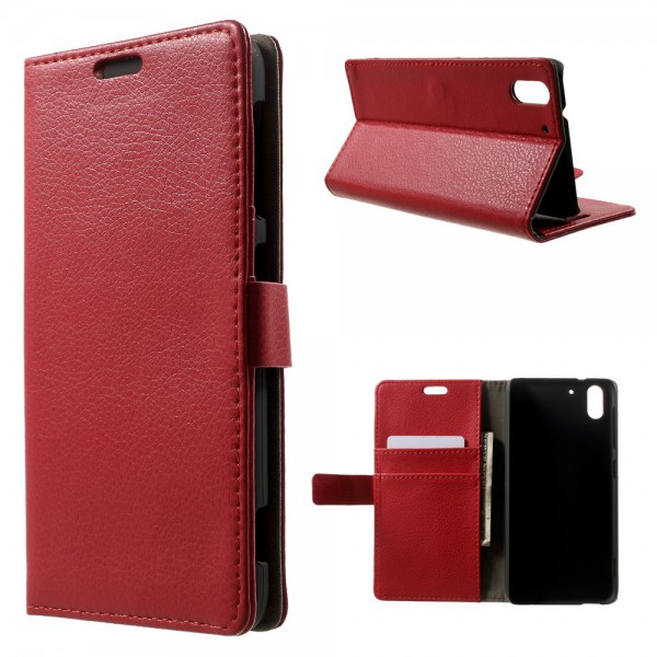 HTC Desire Eye Leder Case mit Litchimuster - rot