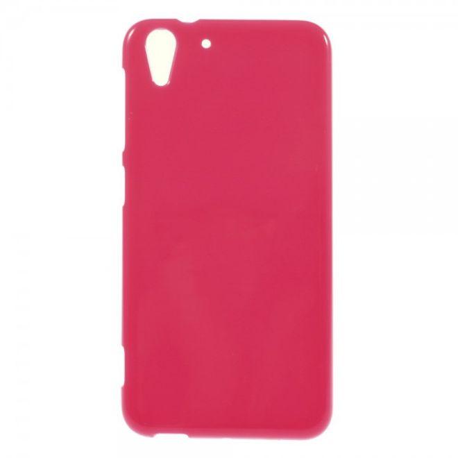 HTC Desire Eye Elastisches, leicht glänzendes Plastik Case - rosa
