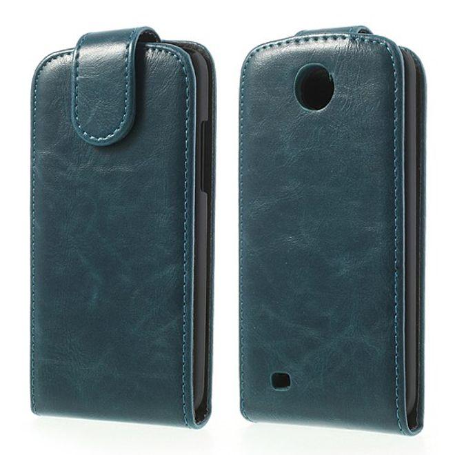 HTC Desire 300 Modisches Crazy Horse Leder Case - blau