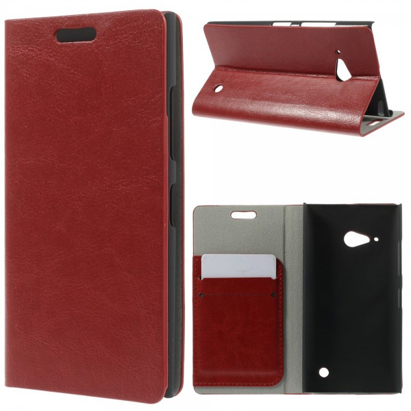 Nokia Lumia 730/730 Dual/735 Crazy Horse Leder Case mit Standfunktion - rot
