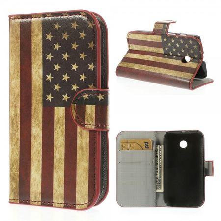 Motorola Moto E Leder Case mit USA Flagge retro-style